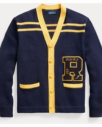 Polo Ralph Lauren Cardigan universitaire en coton et lin - Bleu
