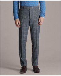 Ralph Lauren Purple Label Gregory Plaid Suit Trouser - Gray