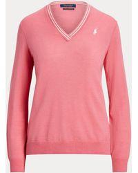 Ralph Lauren Golf Merino Wool V-neck Jumper - Pink