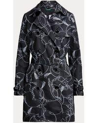 Ralph Lauren Trench-coat en taffetas imprimé - Noir