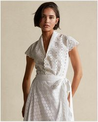 Polo Ralph Lauren Camicetta in cotone traforato - Bianco
