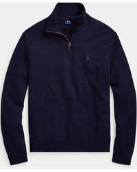 Polo Ralph Lauren Merinopullover mit Reißverschluss - Blau