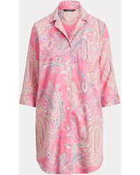 Ralph Lauren Camicia da notte in misto cotone - Rosa