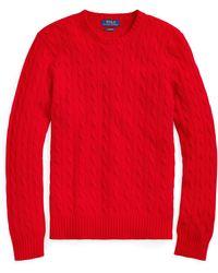 Polo Ralph Lauren Kaschmirpullover mit Zopfmuster - Rot