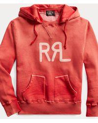RRL Sweat à capuche en molleton à logo - Rouge