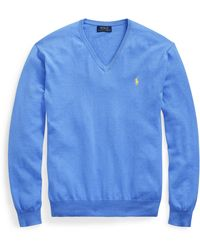 Ralph Lauren Cotton V-neck Sweater - Blue