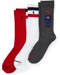 Polo Ralph Lauren Lot de 3 paires de chaussettes Sport Ours - Rouge