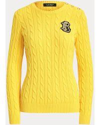 Ralph Lauren Button-trim Cable-knit Jumper - Yellow