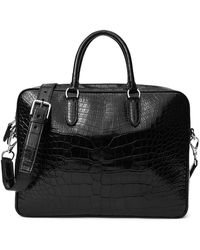 Ralph Lauren Purple Label Alligator Commuter Bag - Black