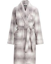 Ralph Lauren Plaid Fleece Robe - Gray
