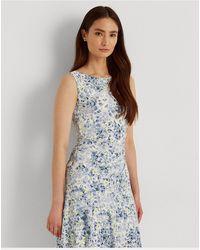 Lauren by Ralph Lauren Floral Sleeveless Jersey Dress - Blue