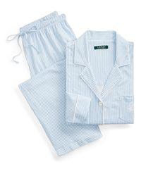 Ralph Lauren Pyjama rayé en coton - Bleu