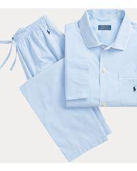 Polo Ralph Lauren Langer Pyjama mit Ginganmuster - Blau