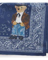 Polo Ralph Lauren Bandana in cotone con Polo Bear - Blu