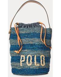 Polo Ralph Lauren Bolso Saco Pequeño A Rayas De Rafia - Azul