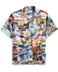 d6ee9ba8 RRL Camp-collar Printed Woven Shirt in Blue for Men - Lyst