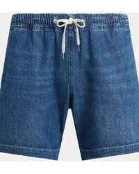 Polo Ralph Lauren Short Polo Prepster en denim 16,5 cm - Bleu