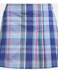 Ralph Lauren Golf Plaid Stretch Golf Skort - Blue