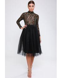 Rare London Black Metallic Tutu Dress