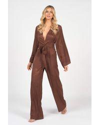 Rare London Brown Tie Waist Kimono Jumpsuit