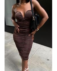 Rare London Chocolate Sweetheart Ruched Midaxi Dress - Brown
