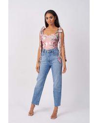 Rare London Pink Contrast Metallic Lace Floral Bodysuit - Blue
