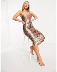 Rare London Rose Gold Holographic Ruched Midi Dress - Multicolour