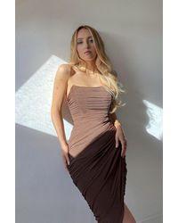 Rare London Chocolate Mesh Drape Wrap Midi Dress - Brown