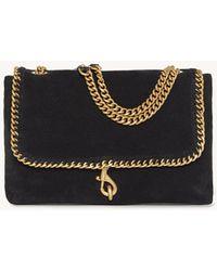 Rebecca Minkoff Edie Flap Shoulder Bag With Woven Chain - Black