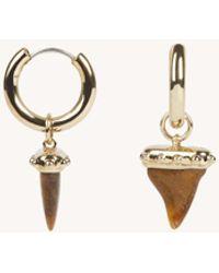Rebecca Minkoff Studded Shark-tooth Huggie Hoop - Metallic