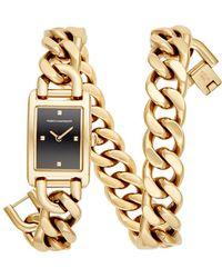 Rebecca Minkoff - Moment Gold Tone Chain Bracelet Watch, 19x30mm - Lyst