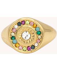 Rebecca Minkoff Multi Stone Signet Pinky Ring - Metallic