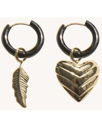 Rebecca Minkoff Feather & Quilted Heart Mismatched Huggie Hoops - Multicolour