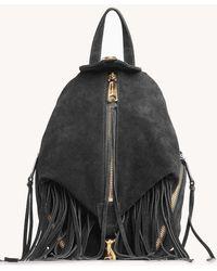 Rebecca Minkoff Convertible Mini Julian Backpack With Fringe - Black