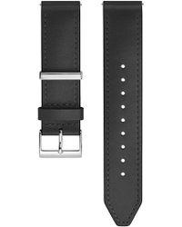 Rebecca Minkoff Silver Tone Leather Strap, 20mm - Black