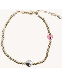 Rebecca Minkoff Beaded Yin-yang Bracelet With Evil-eye Heart - Metallic