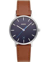 Rebecca Minkoff - Norrebro Stainless Steel Tone Saddle Leather Strap Watch, 40mm - Lyst