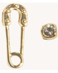 Rebecca Minkoff Safety Pin & Stone Stud Ear Party Set - Metallic