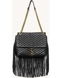 Rebecca Minkoff Edie Flap Shoulder Bag With Fringe - Black