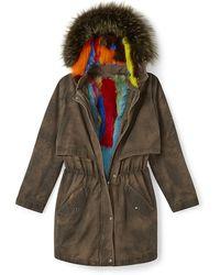 Rebecca Minkoff Theo Coat With Fur - Green