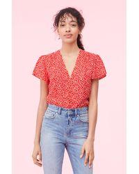 Rebecca Taylor Malia Floral Jacquard Top - Red
