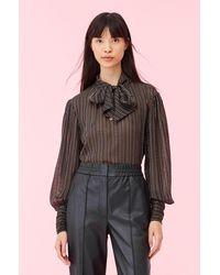 Rebecca Taylor Multi Lurex Stripe Tie Neck Top - Black