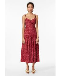 Rebecca Taylor - Blurry Heart Silk Tank Dress Crimson, Size 4 - Lyst