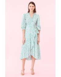 Rebecca Taylor Emerald Daisy Wrap Dress - Blue
