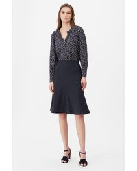 Rebecca Taylor Tailored Pinstripe Suiting Skirt - Blue