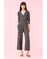 Rebecca Taylor Lia Floral - Print Jumpsuit - Black