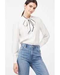 Rebecca Taylor Tailored Silk Twill Tie Neck Top - Multicolour