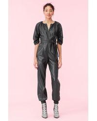 Rebecca Taylor Vegan Leather Jumpsuit - Black