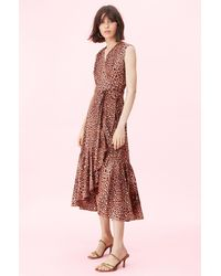 Rebecca Taylor Spring Leopard Wrap Dress - Brown