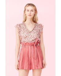 Rebecca Taylor Lucia Floral Top - Pink